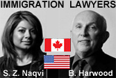 Saba Naqvi, BA (U.Toronto), JD (California), based in Vancouver, BC is both a BC immigration lawyer and a California attorney - practice focus on business immigration; phto has her next to Bruce Harwood, MA LLB, business immigration lawyer and co-team member - click for more info
