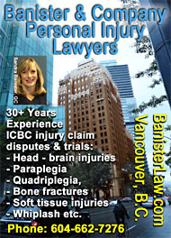 downtown Vancouver lawyer Sandra Banister, QC over 30 years experience with personal injury and ICBC  cliaims disputes CLICK TO HER profile