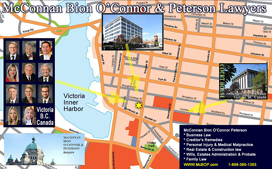 Downtown Victoria Street map to McConnan Bion O'Connor Peterson  law  offices, on Douglas Street,  one  block from  Court House and one block from  Empress Hotel on Government St. web site www.McBOP.COM