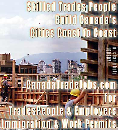 Photo skilled tradesmen working on condos near 12th & Cambie in Vancouver - skilled trades workers and employers assisted by Canada Work Permits - CLICK FOR experienced lawyers and business consultants Lowe  & Company 777 West Broadway